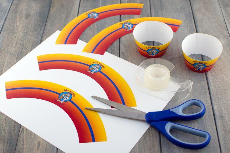 Breaking Bad Cupcakes and free Los Pollos Hermanos Printable from Semi Sweet Designs