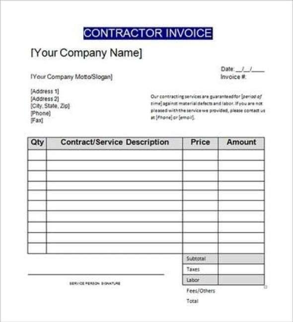 6 Contractors Invoice Templates Free Sample Templates