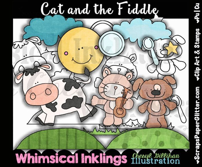 Cat And Fiddle Clip Art, BONUS Lineart, Commercial  Use, Digital Stamps, Clipart, Black & White, Storybook, Nursery Rhyme, Song, Preschool by ResellerClipArt on Etsy