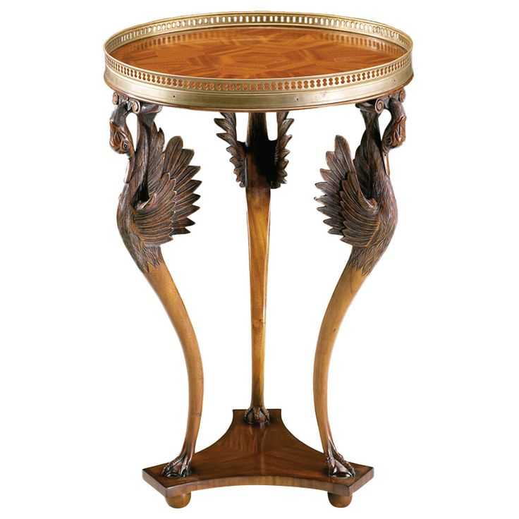 CARVED THREE SWAN MAHOGANY MARQUETRY INLAY BRASS GALLERY TOP SIDE TABLE    JAN 0033119 Cost