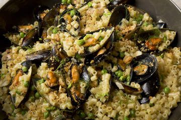 Macaroni with mussels, spring peas and toasted breadcrumbs (Karen Martini).
