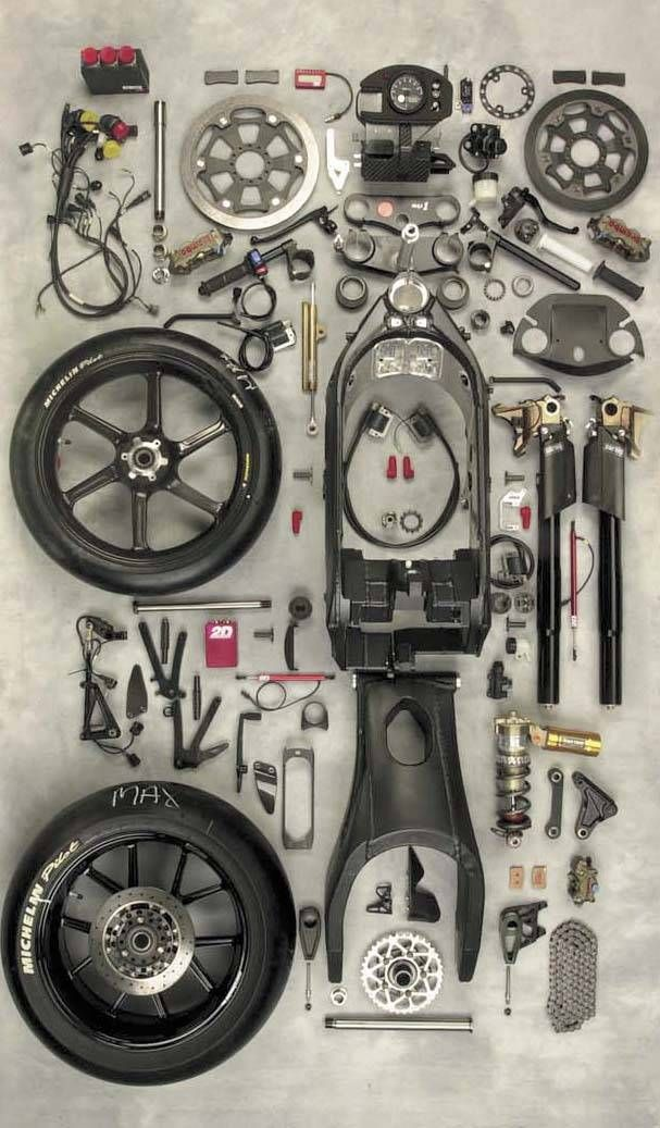 so cool. something about the whole bike being in pieces, but in an organized way.