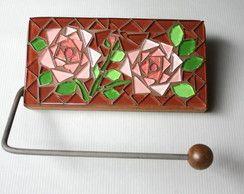 Porta papel higiênico em mosaico Rosas