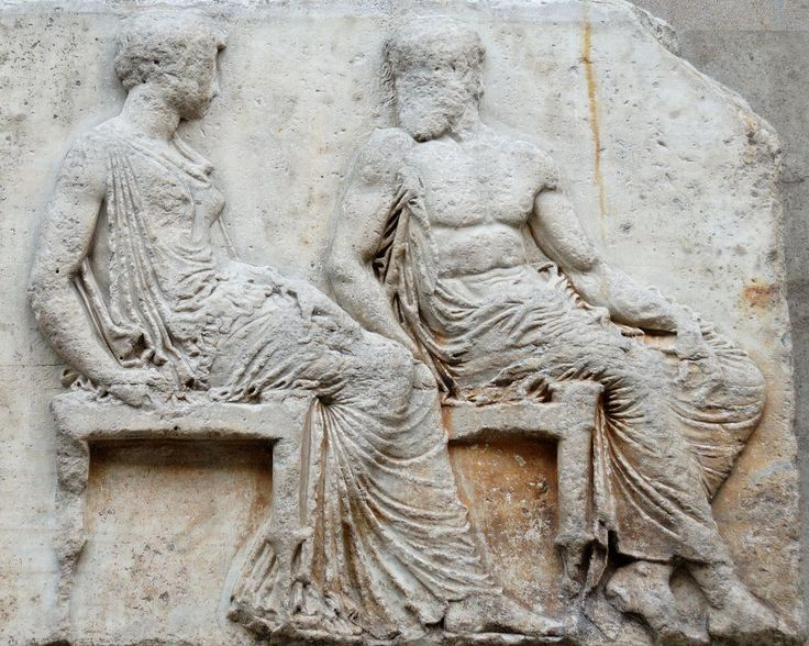 """""""Athéna & Héphaïstos assistent à la procession des Panathénées"""" - Frise Est du Parthénon : plaque V (figures 36-37) - Vers 447-433 avant notre ère - British Museum."""