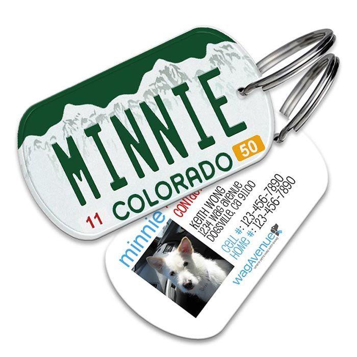 Dog Tag - Colorado License Plate Dog Tag - Personalized Pet Tag, Custom Dog Tag, Dog ID Tag, Dog Name Tag, Dog Tags for Dog, Dog License Tag by WagAvenue on Etsy https://www.etsy.com/listing/226653132/dog-tag-colorado-license-plate-dog-tag