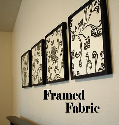 framed fabric- cheap and cute. would be fun to find something really bold and put it in a large frame for a large piece of art.  or could do small with letters in it