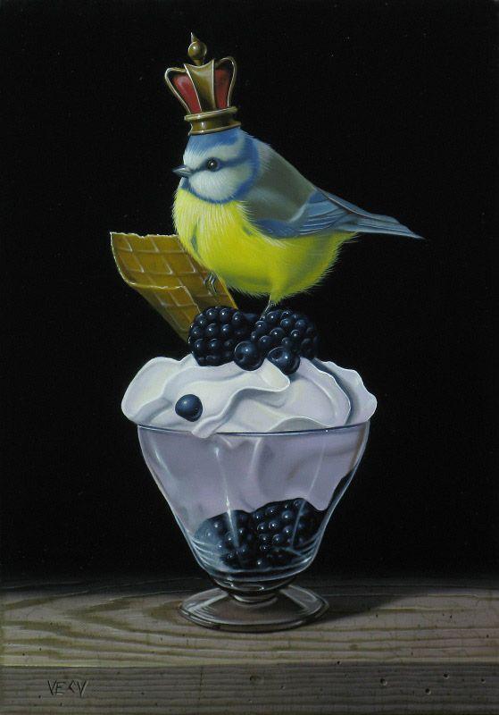 Schilderij vogel - Vécu - Mesange bleue -  Olieverf op doek - 27 x 19 cm. -