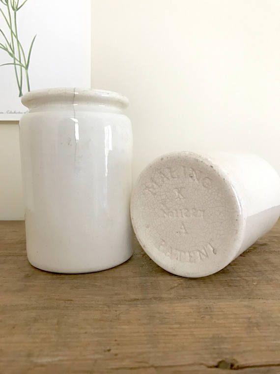 Vintage White Ironstone Crocks / Pair of Stoneware Crocks / white ironstone jars