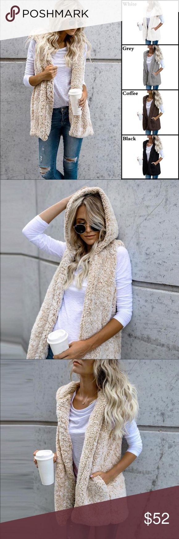 Faux Fur Hoodie Vest Womens fashionable faux fur sleeveless vest hoodie. Made with soft faux fur material, guaranteed to keep you warm and looking fantastic. Don't miss out on this fabulous fashion statement! Free gift with purchase Jackets & Coats Vests