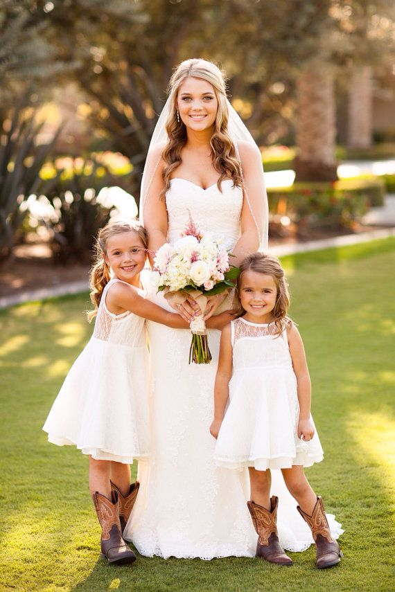 The Emma Elizabeth Lace Flower Girl Dress for by kailynzoeandco $114. Love the flower girls in boots for country wedding