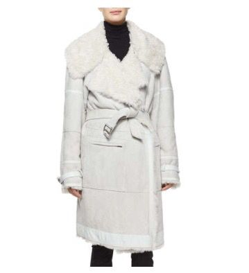 Donna Karan Luxe Shearling Fur Belted Coat