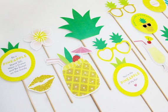 Party like a Pineapple! Add some sunshine to your party with these pineapple party photo booth props. Also suits a Tropical, Hawaiian Luau or Summer themed party. To get the party started grab your FREE party planner and guest list from our blog at www.creativesenseco.com *************** Pineapple Party Photo Booth Props Printable (14 piece set) includes: Pineapple Ring Frangipani Pineapple Pineapple Drink Pineapple of My Eye Sign Be a Pineapple Sign Hibiscus Party like a Pineapple Sign ...