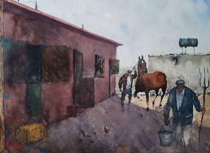 Hostlers@Ankara Binicilik ve Ihtisas Klübü (ABIK).. visit my YouTube channel linked in the bio... #drawing #sketching #sketch #watercolorart #watercolor #watercolors #watercolour #aquarelle #painting #akvarell #range #abik #ankarabinicilik #ankarabinicilikihtisas #ankarabinicilikihtisasklubu #ankara #hostler #horse #horses #horseman #horsemen #bahabörü