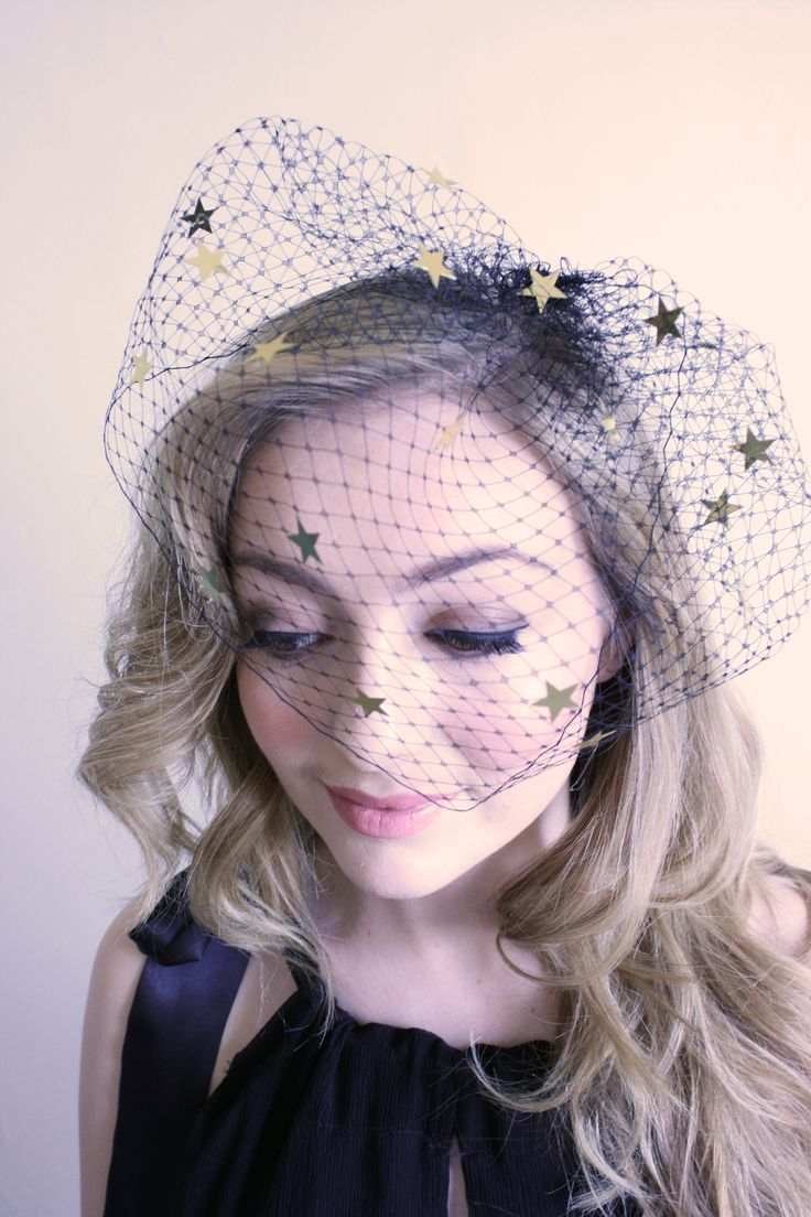Natalie Chan 'Marche aux Puces' black veiling dotted with gold stars
