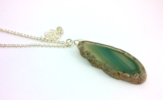 Agate Slice Pendant Silver Plated Double Chain by RivJewellery