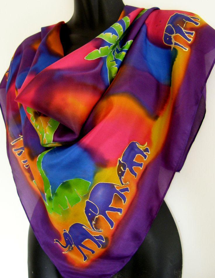 PURPLE ELEPHANT WALK in an exotic tropical jungle. Square handpainted silk scarf www.satherleysilks.co.nz
