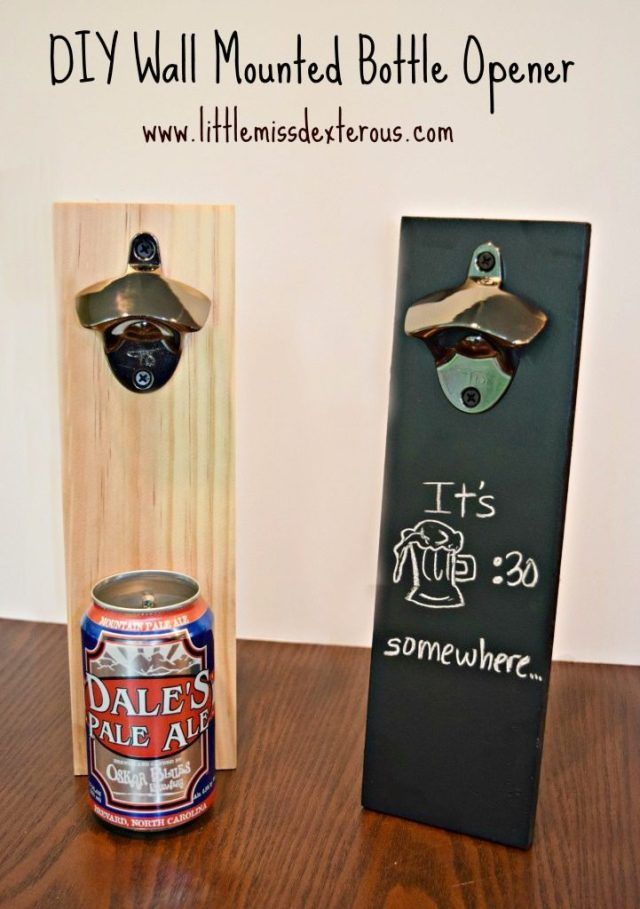 Here's How to Make a DIY Wall Mounted Beer Bottle Opener. Necessary in any home with a beer drinker! Great for gifts and decor!