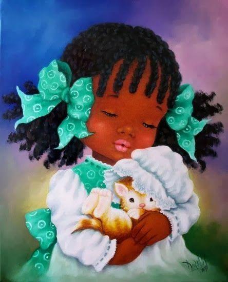 ❤Beautiful little girl holding kitten ~ Artist Dora Alis