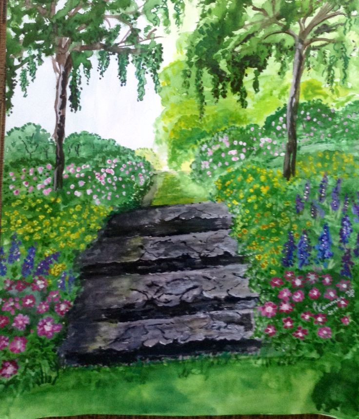 Watercolour garden stairs