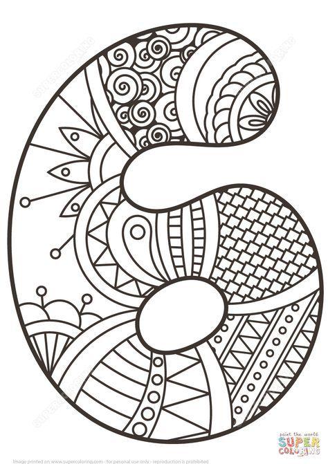 número 6 zentangle | super coloring | numero para colorear