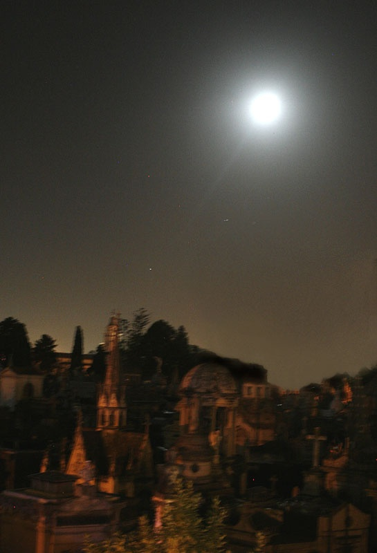 moonrise over the famous cemetery of Recoleta in Buenos Aires