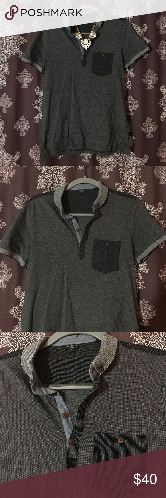 Ted Baker London Navy Blue Men's Polo Size 2 Ted Baker London navy blue collared polo top in a size 2, would easily fit some one who typically wears a size small. Very classic, essential piece. Perfect, like new. Make a reasonable offer or bundle for a great discount. 💓 Ted Baker London Shirts Polos