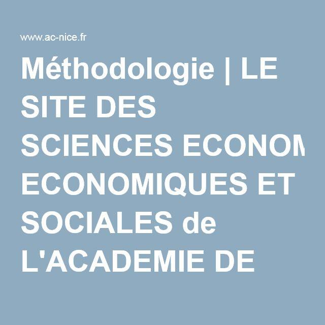 Méthodologie | LE SITE DES SCIENCES ECONOMIQUES ET SOCIALES de L'ACADEMIE DE NICE