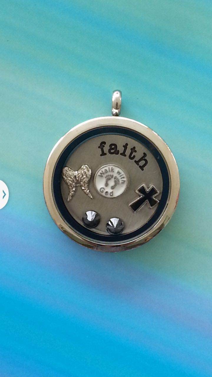 Large Silver Locket (No Crystals) with 'faith' plate and charms. https://www.facebook.com/littletreazures