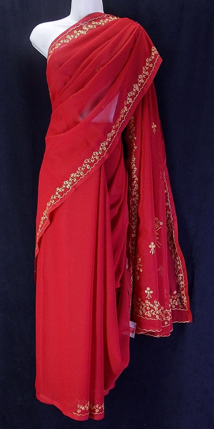 True red chiffon saree with delicate wheat embroidery