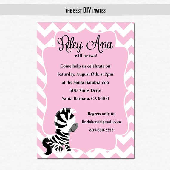 39 best Pink Zebra Peace Sign Party Ideas images on Pinterest - best of invitation card for new zoo