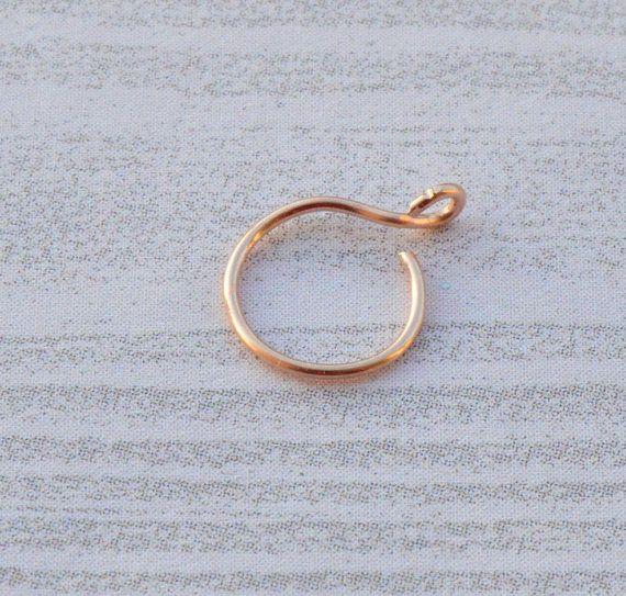 12K Rose Gold Nose Ring, Rose Gold Fake Nose Ring, 22 Gauge Nose Ring, Fake Hoop, Clip On Nose Ring, No Piercing, Nose Cuff