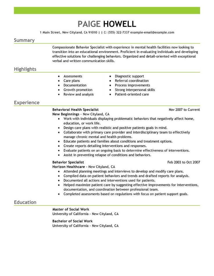 Best Behavior Specialist Resume Example | LiveCareer