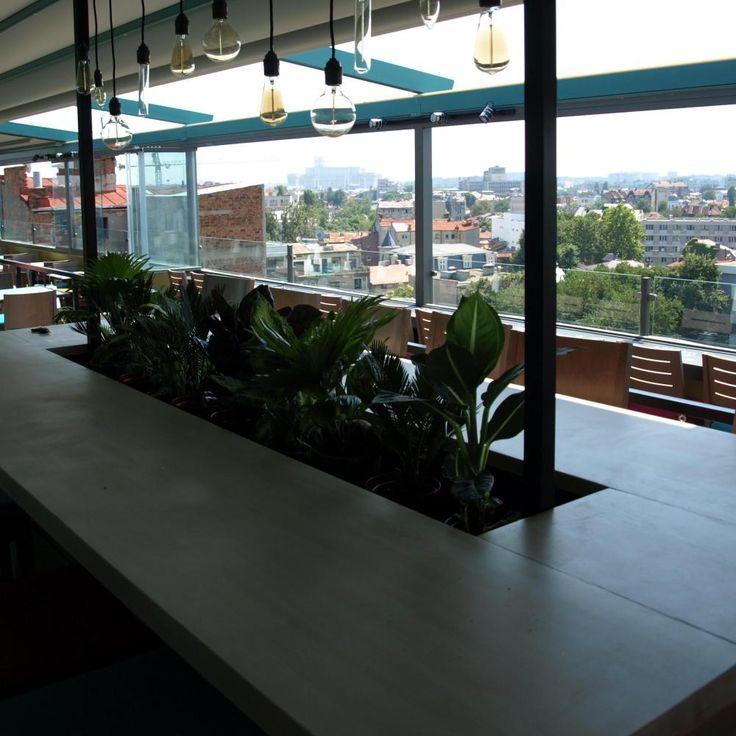 Insula din lemn de fag cu loc pentru plante decorative