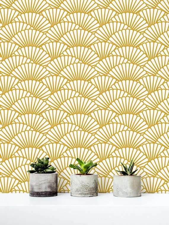 Solid Gold Wallpaper Scallop Removable Wallpaper Etsy Gold Wallpaper Removable Wallpaper Temporary Wallpaper