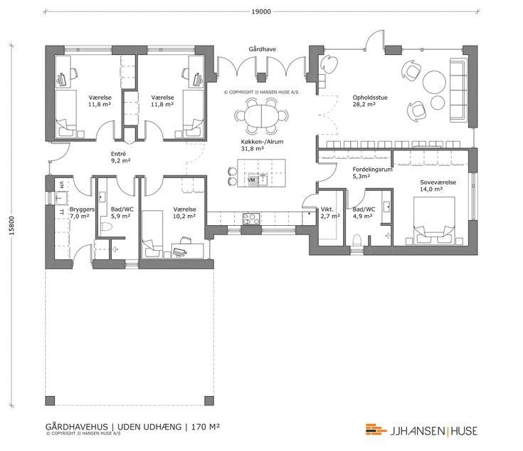 170 M2 Gårdhavehus - Pris fra kun: 1.758.000,- | JJ HANSEN | HUSE
