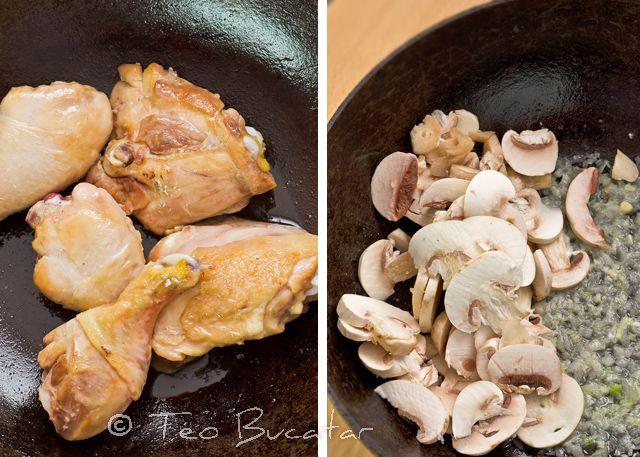 preparare pui cu sos de ciuperci