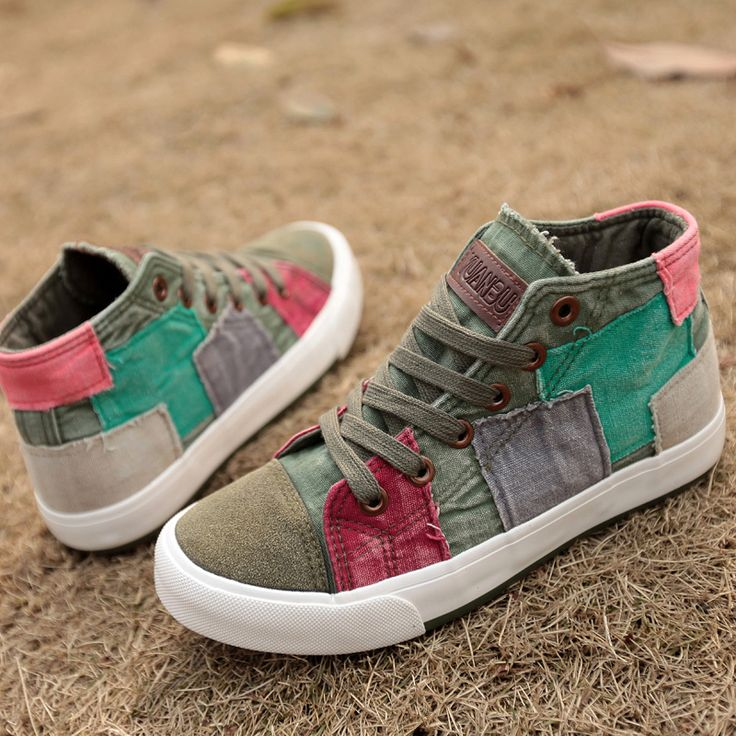 Hot selling! lady high canvas shoes summer & winter casual shoes sneakers for women Color block decoration top quality-inSneakers from Shoes...