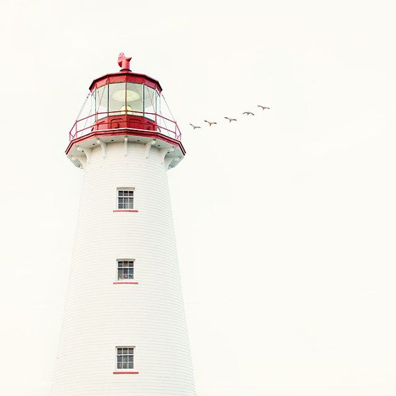 Nautical Decor, Lighthouse Photograph, Ocean, Sea, White, Red, Summer, July 4, Beach, Minimal Fine Art Print - To the Lighthouse on Etsy, $30.00