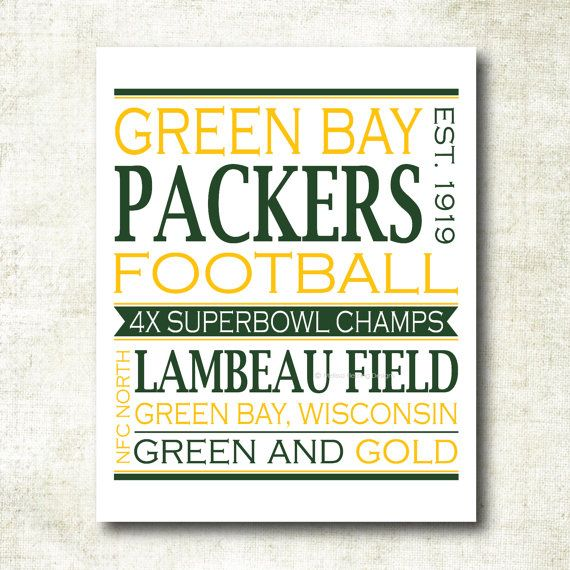 Green Bay Packers Football Art Print NFL3 by MelissaFlemingDesigns