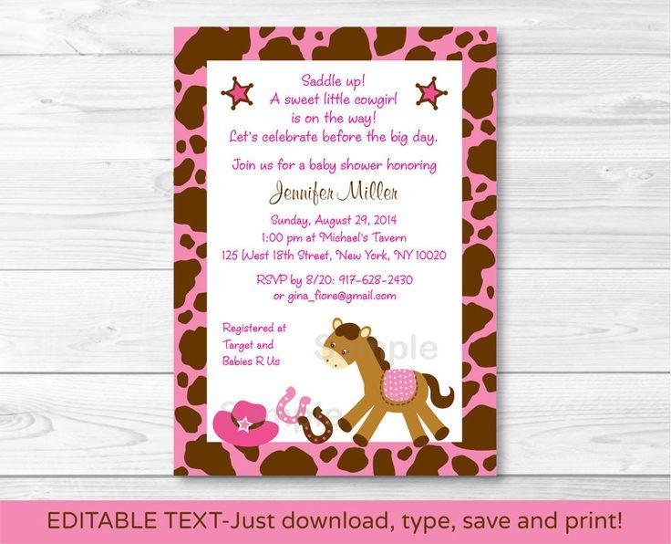 Pink Cowgirl Pony Printable Baby Shower Invitation Editable PDF
