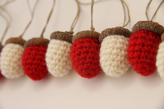 ACORNS  set of 6 crocheted fall autumn home decor crochet