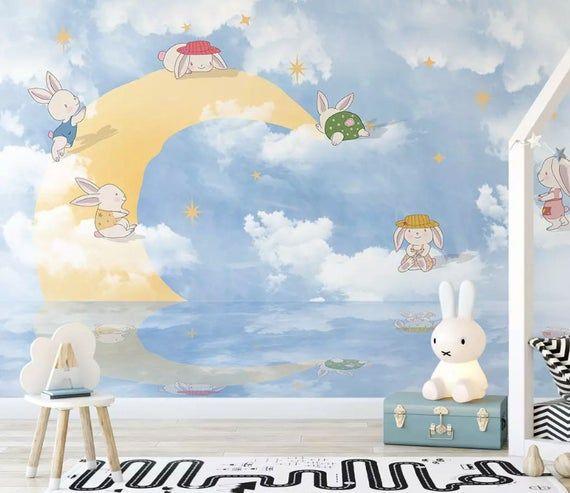 Kids Wallpaper Little Rabbit Wall Mural Cartoon Moon Wall Art Nursery Wall Decor Childroom Baby Room Play Room