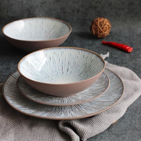 Ngai Japanese Style Striped Design Ceramic Bowl Plate Dinnerware Set Soup Bowls Ceramic Dinnerware Plates And Bowls