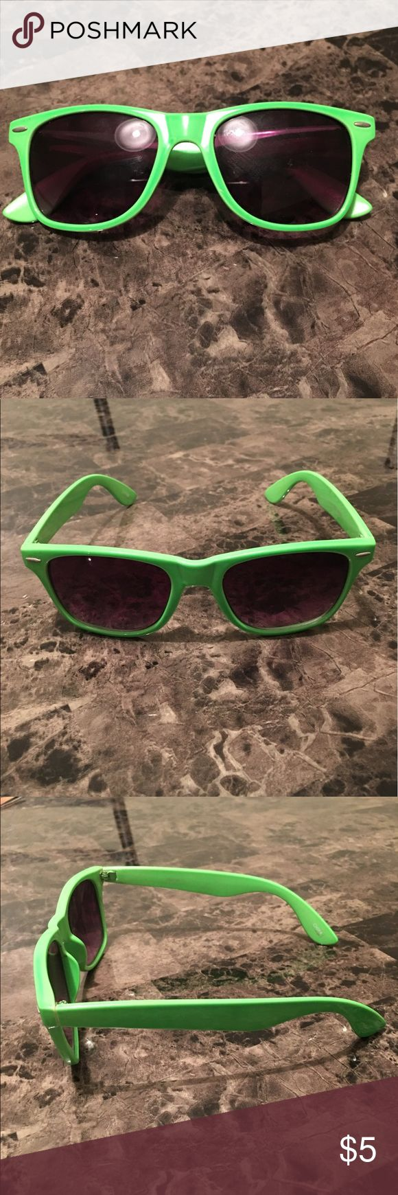 Bright Green Sunglasses 😎 *PRE-LOVED* ❗️BUNDLE ITEM ONLY❗️Neon green plastic frame sunglasses.  The perfect addition to any summer outfit. No flaws! Ask ❓, more 📸 upon request .. ❌trades ❌holds, ✅bundles✌🏾&❤️ Accessories Sunglasses