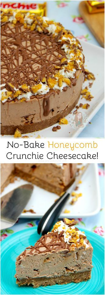 No-Bake Honeycomb Crunchie Cheesecake! ❤️ A Creamy, Chocolatey, Sweet, and delicious No-Bake Honeycomb Cheesecake using Cadbury's Crunchies – heaven!