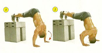 Get into pushup position, resting your feet on a bench or boxes. Walk your hands back so that your butt points up in the air and your torso forms a straight line. lower your body as far as far as you can or until your head touches the floor. Do these after your main lift of the day using multiple sets of low reps and treat the exercise like skill practice—do every rep perfectly and with control. When your form starts to break down, stop.