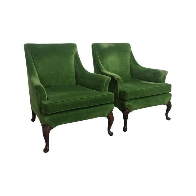 Image of Green Velvet Wing Chairs - A Pair