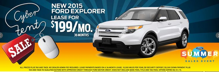 Summer Sales Event! Cyber Tent Sale! New 2015 ‪#‎Ford‬ Explorer Lease For $199 Month! http://www.gusmachadoford.com/ ‪#‎Miami‬ ‪#‎Hialeah‬ ‪#‎Kendall‬