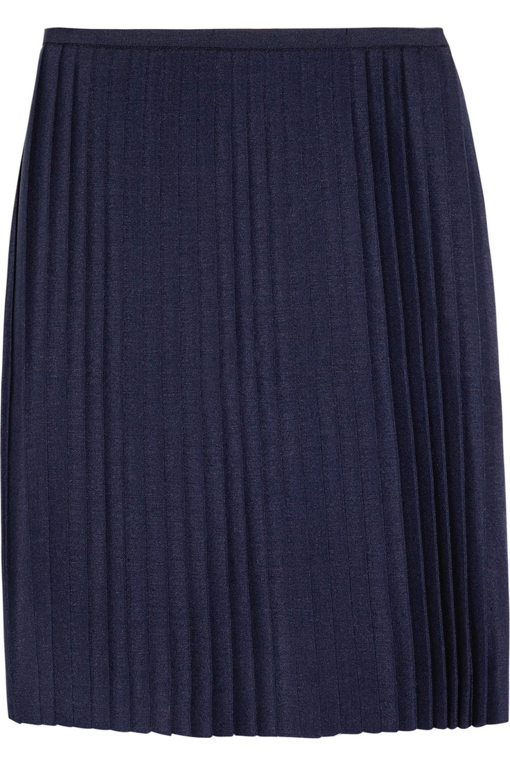 Razor-sharp pleats give a pitch-perfect finish to J.W.Anderson's chic navy mohair and wool-blend wrap skirt. Team it with a printed blouse and colorful accessories for the ultimate on-trend combination.