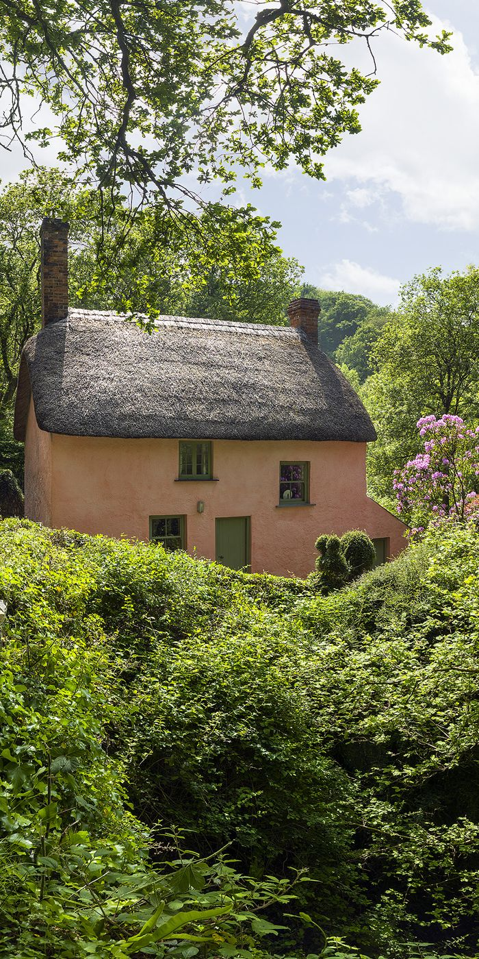 The thatched Bridge Cottage is set in Peppercombe Valley next to a path that leads down to a stony, deserted beach.  With its orchard and small garden,